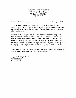 Letter from Sherwood Forest Estates Fire Department