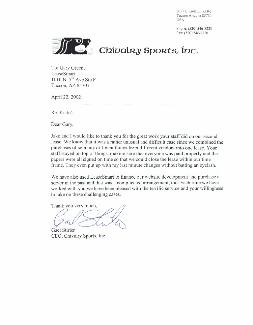 Letter from Chivalry Sports