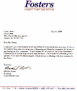 Letter from Fosters Carpet Care