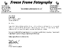 Letter from Freeze Frame Fotography